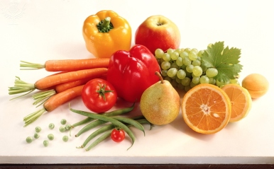 Fruit and vegetables. Selection of raw fruits and vegetables.